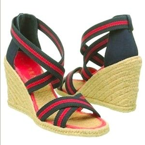 Ralph Lauren ILIANA Jute Wedge Sandals 9B Red Blue